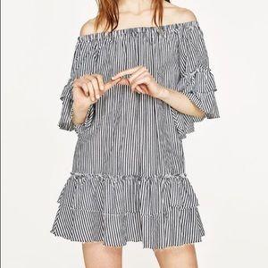 Zara pinstripe ruffle off the shoulder dress